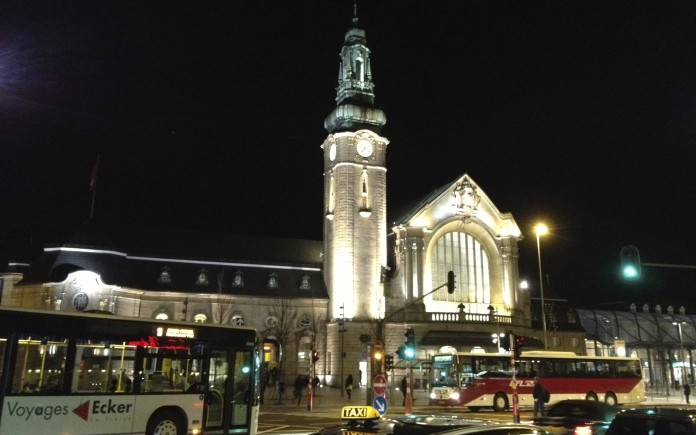 Luxembourg City's train station at night