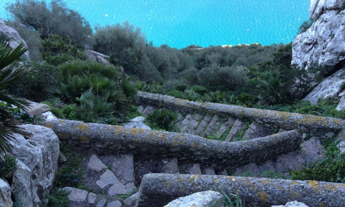 The Mediterranean Steps traverse down the face of the Rock