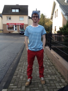 Brian dressed up as (inverted) Where's Waldo.