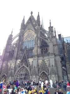 The Cologne Cathedral in all of it's immense glory (with the costumed crowds).