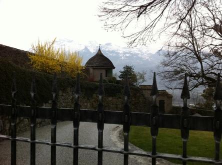 Inside the castle gates.