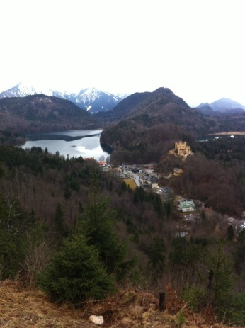 View from the hike to Marionbrücke. That yellow building on the right is Hohenschwangau Castle, the childhood residence of King Ludwig II.