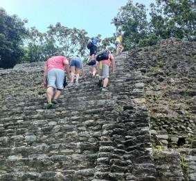Climbing crazy steep steps!