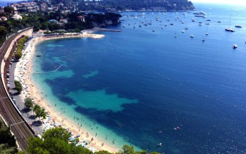 Villefranche Beach from above.
