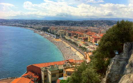 View of the Nice beach/promenade from Castle Hill!